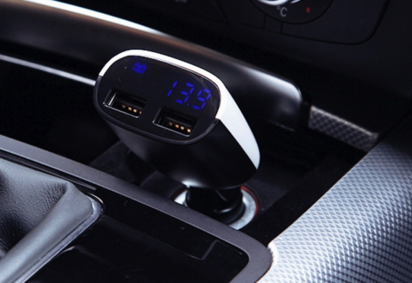 LED Display Digital Car USB Charger Double USB Outputs