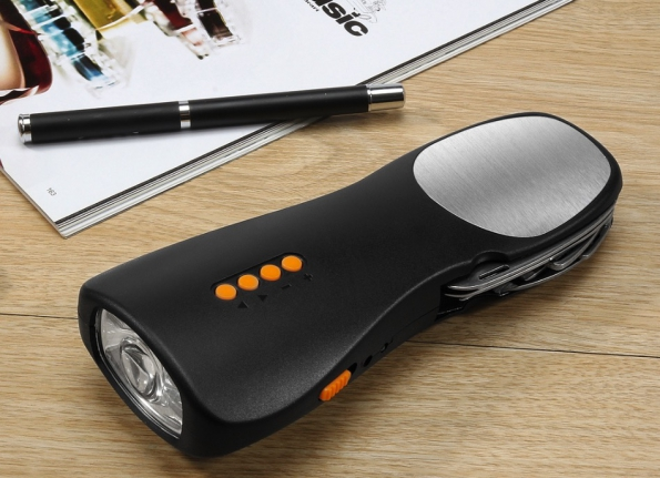 Hand Shake Powered Emergency Light With Tools FM Radio Power Bank