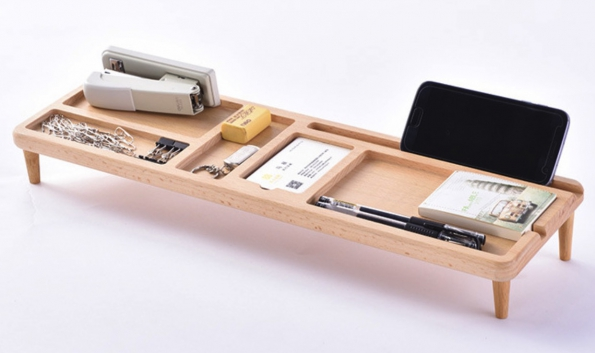 Wooden Desktop Organizer To All Place In Front Of LCD Display With Keyboard Underside