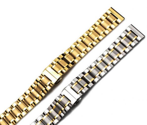 Arc-mouth Connector 5-beads Solid Steel Watch Strap 14 To 24mm