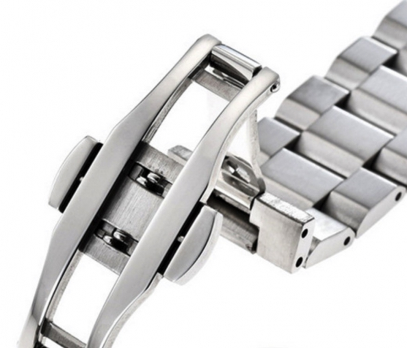 Solid Polished Three-bead Stainless Steel Bracelet Strap 18 To 24mm
