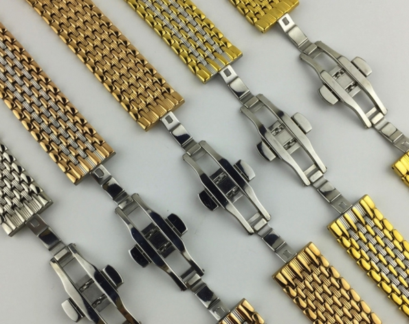 Stainless Steel Watch Strap 9-beads 12 To 22mm And Butterfly Buckle