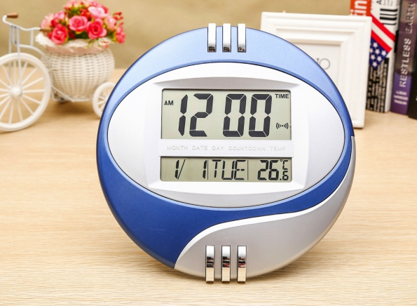 Dual LCD Screen Table Alarm Clock Temperature Display