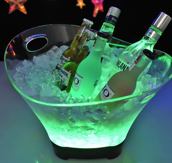 LED Ice Bucket 12L Colorful PS/PP Rechargeable