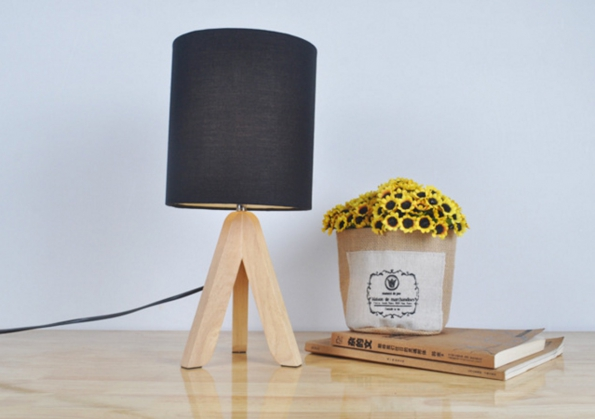 Wooden Tripod Stand LED Lamp with Fabric Art For Soft Light Deco Living Room Lamp Bedroom Desk Light