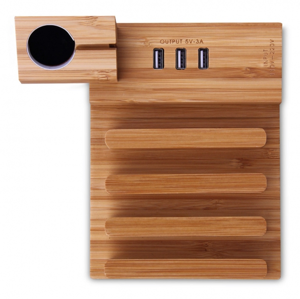 Bamboo Multi Stands With 3X USB Charging Hub Ouput 5V 3A