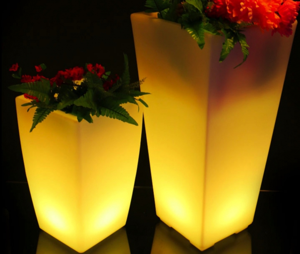 Glowing Led Flower Pots Plant Pots Square Led Illuminated Pots & Led Flower Vase (No.340) LED Flower Pot