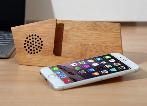 Solid Wooden Phone Stand Speaker Natural Wooden Acoustic Speaker Horizontal