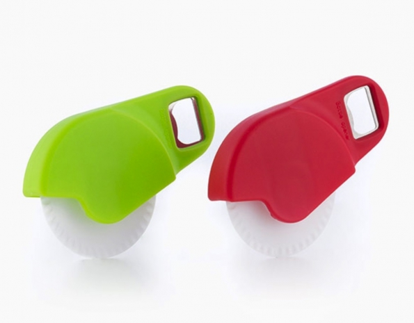Useful Plastic Pizza Cutter With Steel Bottle Opener In Mini Design