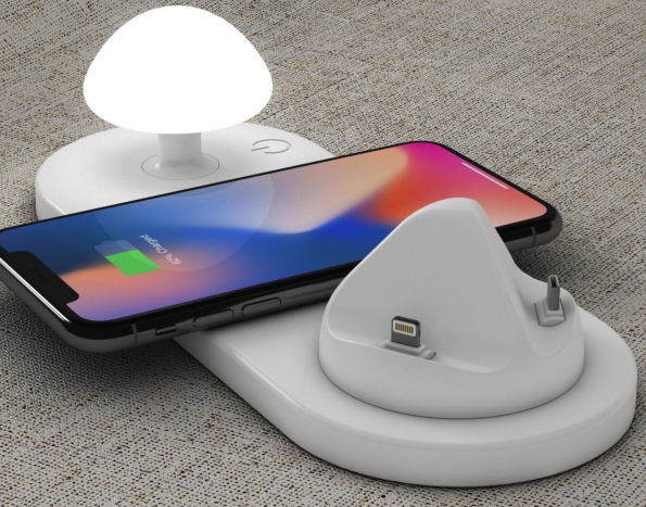 Wireless And Wired Directly Charging Hub Stand With Mushroom LED Night Light