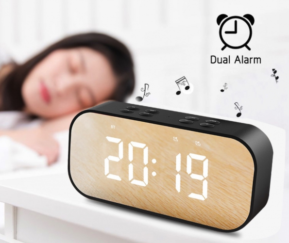 LED Mirror Alarm Clock Bluetooth Speaker Microphone