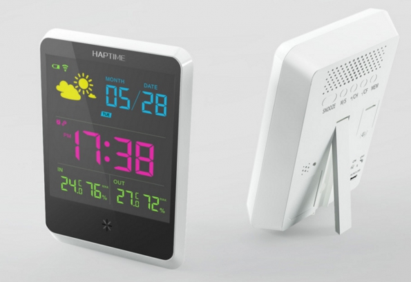 Wireless LED Clock Temperaturing Outdoor And Indoor Easily Built-in Battery Rechargeable HD Colorful Screen