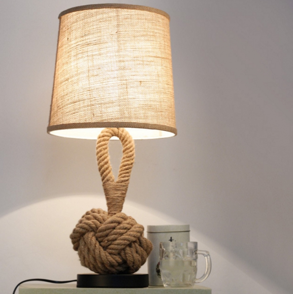 Rope Style LED Desk Creative Design Lamp Fabric Art Deco Bar Hotel Bedroom