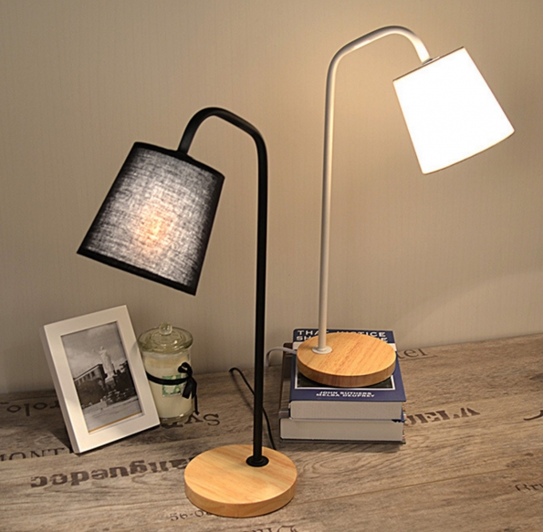 Solid Wood Stand Fabric Soft Light Desk Lamp Reading Lamp Bedroom Art Deco Lamp