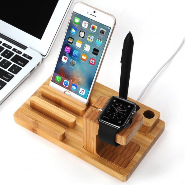 Wood Phone Holder Desktop Stand Tablet Stand With USB Charging Hub 4X Multi-function