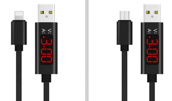 LED Digital Display Alloy Nylon 2.1A USB Cable