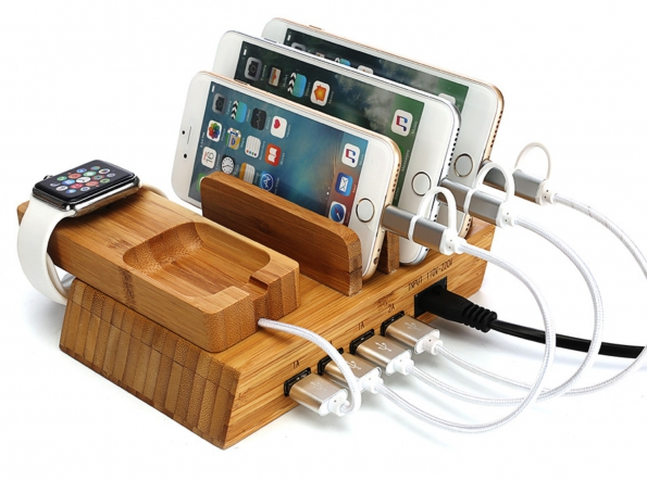 All-in-one Wooden Bamboo Charging Station For All Tablet Cellphone Watch Earphone Dock