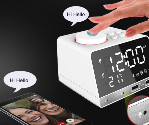 Smart Nice Bedroom Alarm Clock With Bluetooth Speaker And USB Charger And Mirror