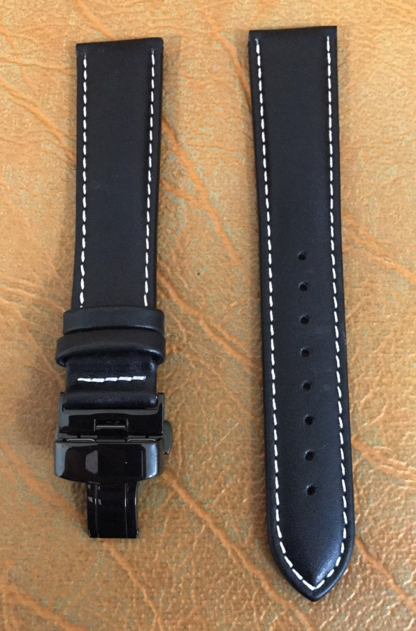 Black Butterfly Watch Strap With Difference Thickness To Head And End And White Stitching
