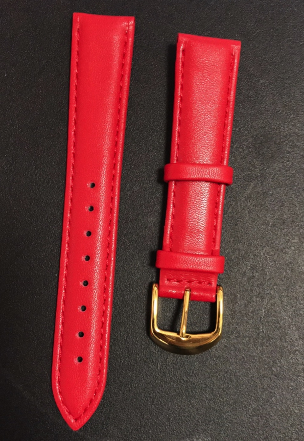Red Smooth Leather Strap With Butterfly Buckle Red Stitching Quality High