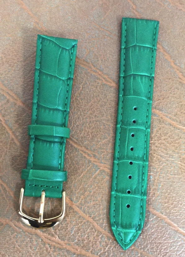 Green Crocodile Style Watch Leather Strap Genuine Leather Watch Band