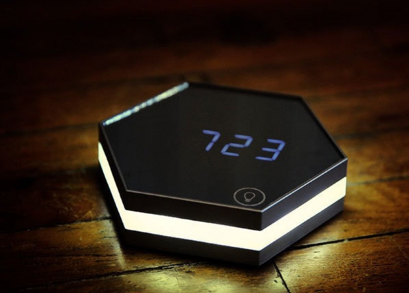 Mirror LED Clock Multi Functioned Hexagon Shape Digital Desk Clock with Function of LED Night Light