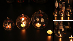 Spherical Glass Candle Hanging Holder